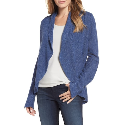 Nic + Zoe Women's Blue Size Large L Marled Knit Cardigan Sweater