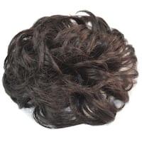 Hair Pack Bun Fluffy Curled Dark Brown Wig