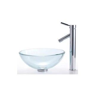 "Kraus C-GV-101-14-12mm-1002 Bathroom Combo - 14"" Clear Glass Vessel Bathroom Sin"