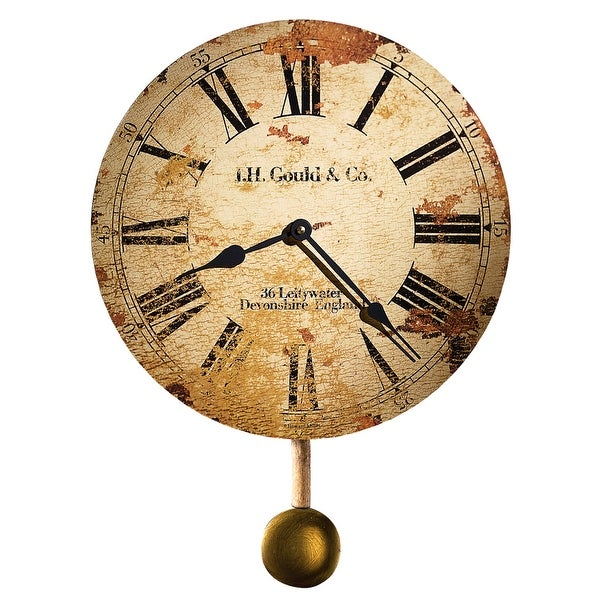 Howard Miller J. H. Gould & Co. Antique, Vintage, Old World, & Industrial Style Distressed Wall Clock with Pendulum. Opens flyout.
