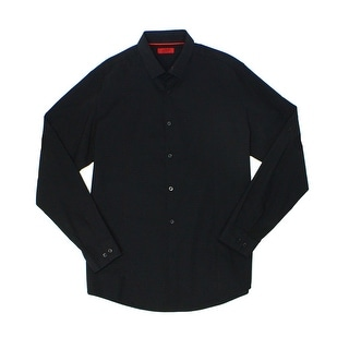 Alfani NEW Black Mens Size Large L Button Down Slim-Fit Checkered Shirt