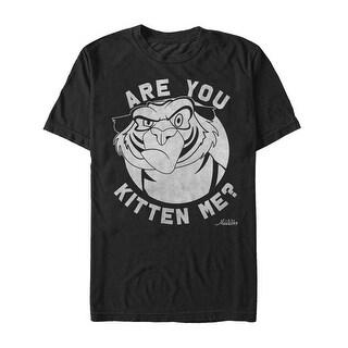 Disney Mens Aladdin Angry Rajah Are You Kitten Me Graphic T-Shirt Black