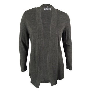 JM Collection Women's Long Sleeve Open Front Cardigan - Charcoal Heather - l