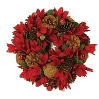 "13"" Glittered Pine Cone Red Floral Artificial Christmas Wreath with Ornaments - Unlit"