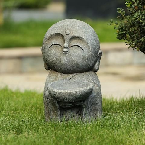 Gray MgO Little Buddha Monk and Bowl Garden Statue