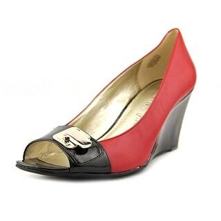 Anne Klein Palmyra Women Open Toe Leather Red Wedge Heel