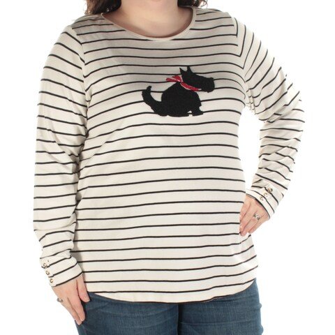 Womens Ivory Striped Scotty Dog Long Sleeve Jewel Neck Casual Top Size 1X