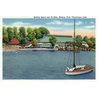 Chautauqua Lake NY - Midway - Vintage Halftone (100% Cotton Towel Absorbent)