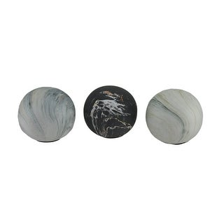 3 Piece Swirling Marble Finish Ceramic Decor Ball Set 4 Inch - 4 X 4 X 4 inches