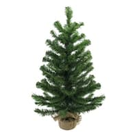 "28"" Balsam Pine Artificial Christmas Tree in Burlap Base - Unlit - green"