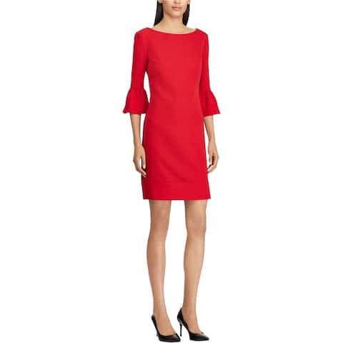 American Living Womens Crepe Bell Sleeve Sheath Dress