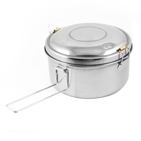 """Unique Bargains Deliberate Clasp Closures Stainless Steel Double Layers Lunch Box 5.3"""" Dia"""