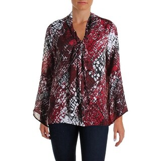Status by Chenault Womens Blouse Printed Tie Front