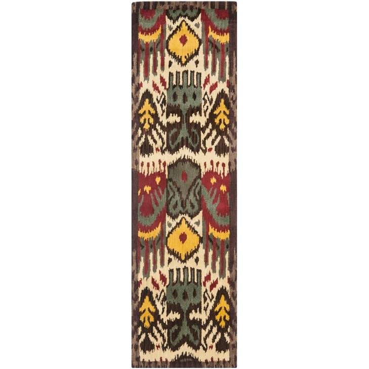 Thumbnail 16, Safavieh Handmade Ikat Shianne Modern Wool Rug. Changes active main hero.