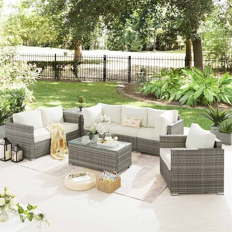 8 PCS Outdoor Patio Furniture Set, Wicker Rattan Sectional Sofa Set with Storage Tables