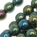 Czech Glass Druk Round Beads 6mm Green Iris (50) - Thumbnail 0