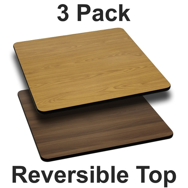 """3PK 24"""" Square Table Top with Natural or Walnut Reversible Laminate Top. Opens flyout."""