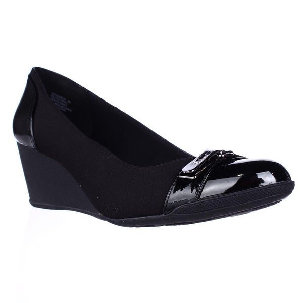 020f8d294a Shop Anne Klein Sport Tamarow Wedge Pumps, Black - On Sale - Free ...