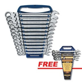 KD Tools 9901D 12 pc. Metric Flex Head Combination Ratcheting GearWrench Set with a FREE 4 pc. Completer Set