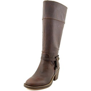 XOXO Marisa Wide Calf Women Square Toe Synthetic Brown Knee High Boot
