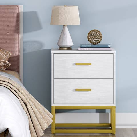 Modern Night Stand for Bedrooms, 2Drawer Nightstands Sofa End Table