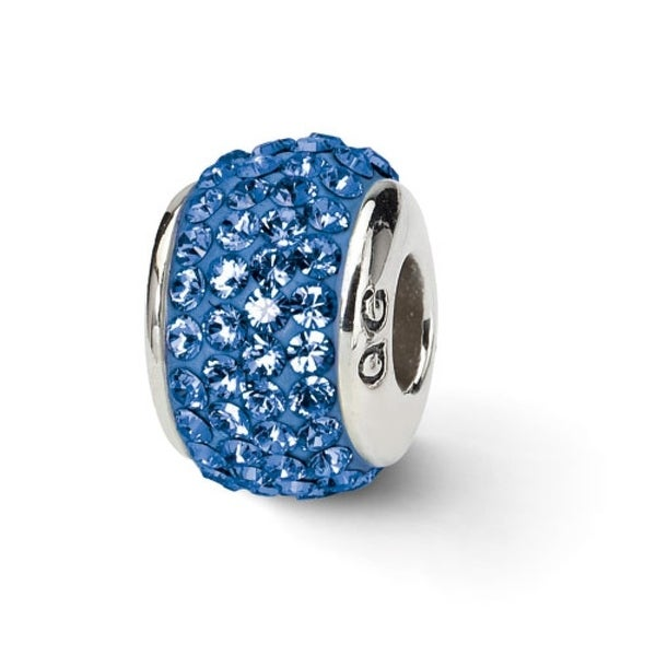 Sterling Silver Reflections Blue Full Swarovski Elements Bead (4mm Diameter Hole)