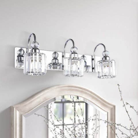 3-Light Wall Sconce Vanity Lighting with Crystal Shades