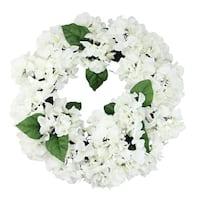"22"" Decorative Cream and Green Artificial Floral Hydrangea Wreath - Unlit - White"
