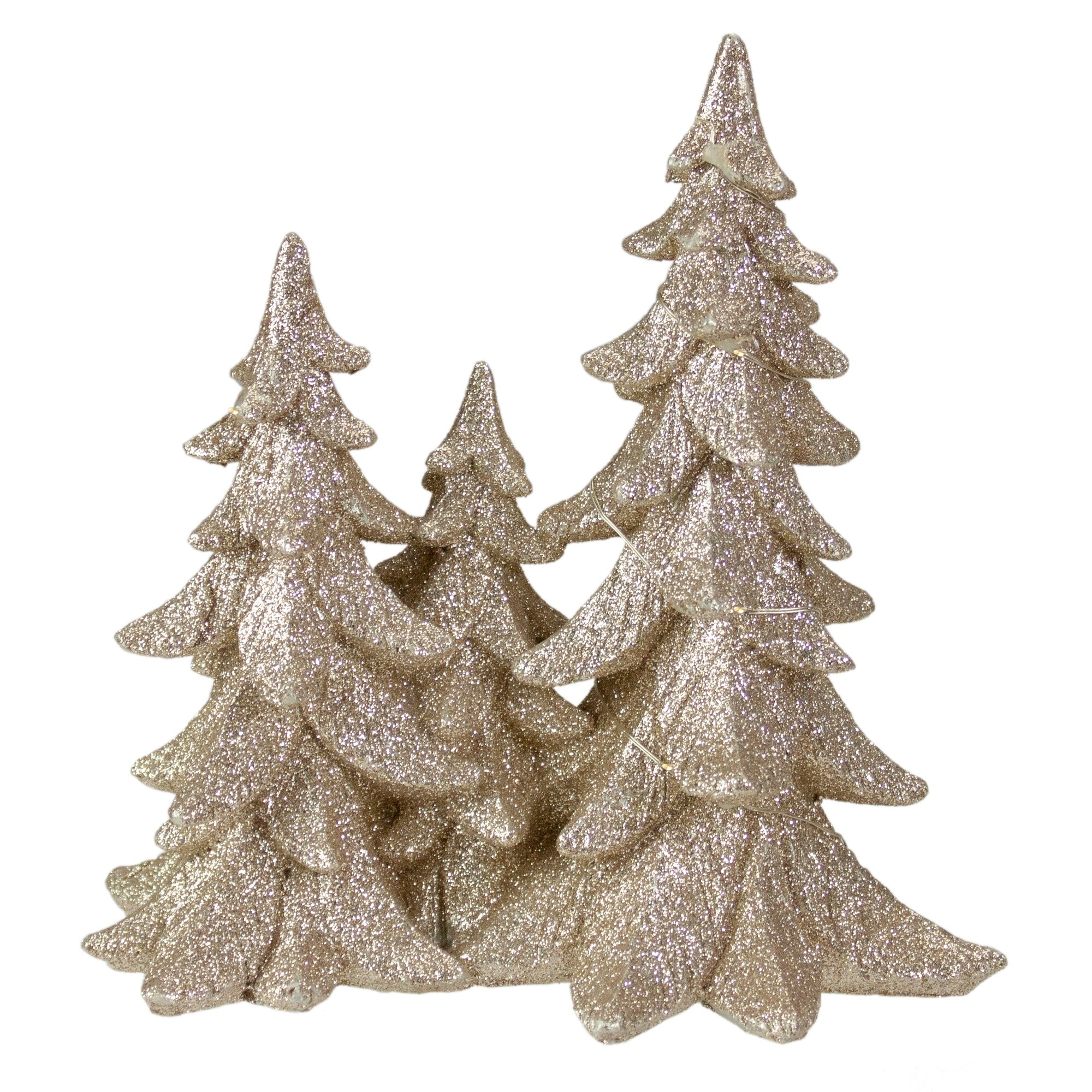 8 Champagne Gold Glittered Christmas Tree Trio Tabletop Decoration Overstock 32255037