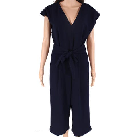 Bishop + Young Women's Jumpsuit Blue Size Medium M V-Neck Tie-Waist
