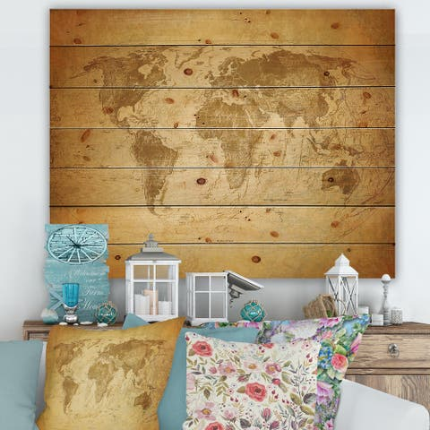 Designart 'Ancient Map of The World X' Vintage Print on Natural Pine Wood