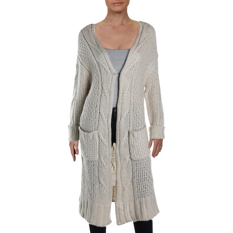 RD Style Womens Cardigan Sweater Cable Knit Open front - White Beach