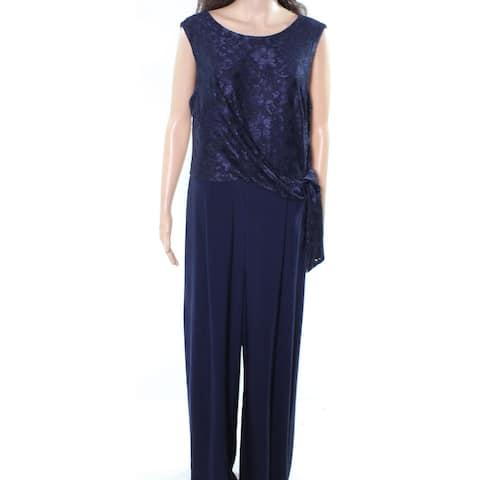 Lauren by Ralph Lauren Women's Blue Size 16 Toki Laced Knot Jumpsuit