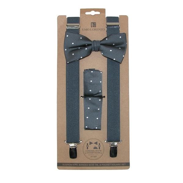 Umo Lorenzo Men's Polka-Dot Bow Tie Handkerchief & Clip-End Suspender Set - One size
