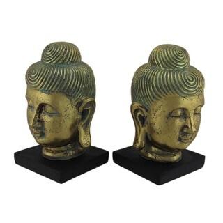 Distressed Golden Buddha Head Bookend Set