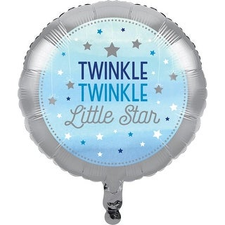 Club Pack of 10 Metallic Gray and Blue One Little Star Metallic Balloon 8""