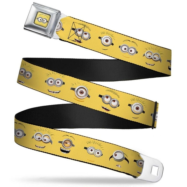 Minion Dave Face Close Up Full Color Minion Expressions Yellow Webbing Seatbelt Belt