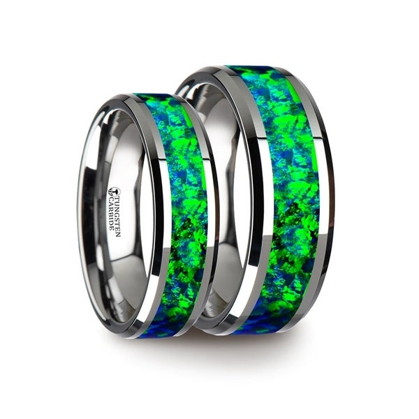Matching Ring Set Tungsten Wedding Band With Beveled Edges And Emerald Green Sapphire Blue Color Opal Inlay
