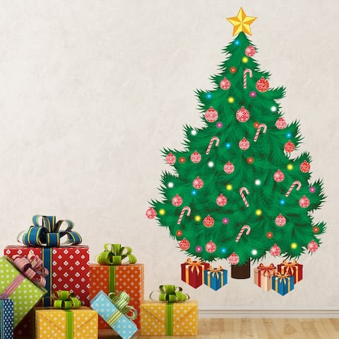 Walplus Traditional Christmas Tree Wall Sticker Festive DIY Home Decor