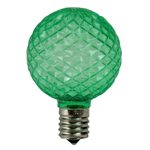 Pack of 25 Faceted G50 LED Green Christmas Replacement Bulbs