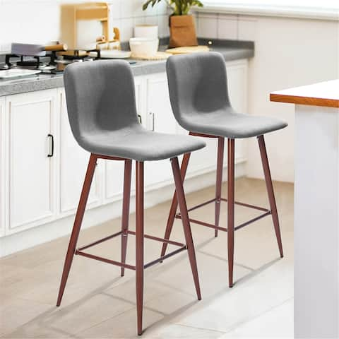 Furniture R Mid-Century Modern Upholstered Bar Stool (Set of 2)