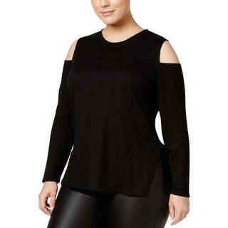 Rachel Rachel Roy Womens Plus Casual Top Ribbed Knit Cold Shoulder
