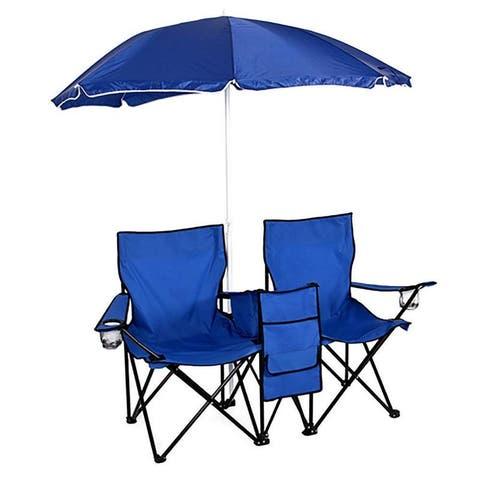 Double Picnic Beach Camping Folding Chair+Table Cooler+ Patio Umbrella