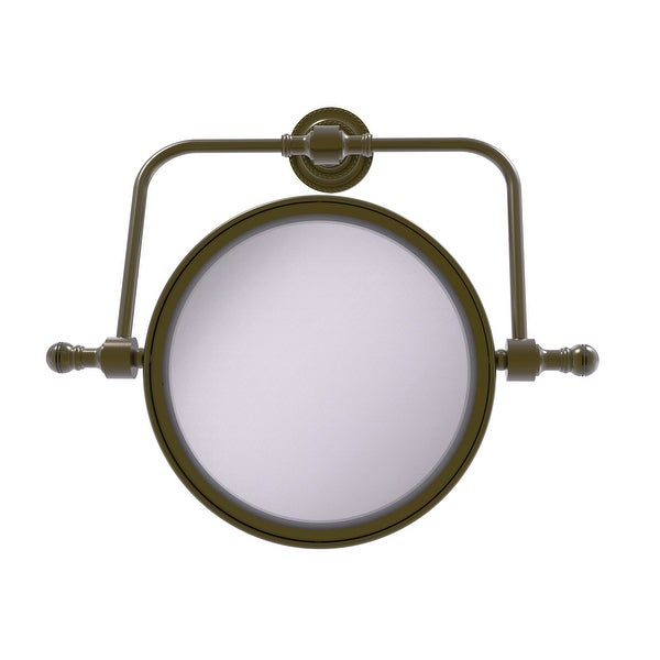 Allied Brass Retro Dot Collection Wall Mounted Swivel Make-Up Mirror 8-in Diameter with 2X Magnification