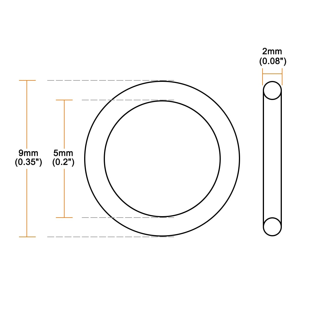 Oil-Resistant Buna N O-Rings 100 EA per Pack 3//8/'/' Diameter -110