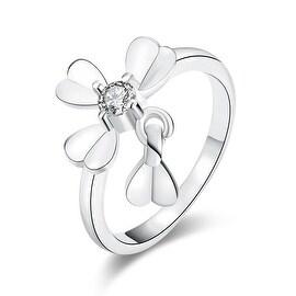 Petite White Gold Clover Ring