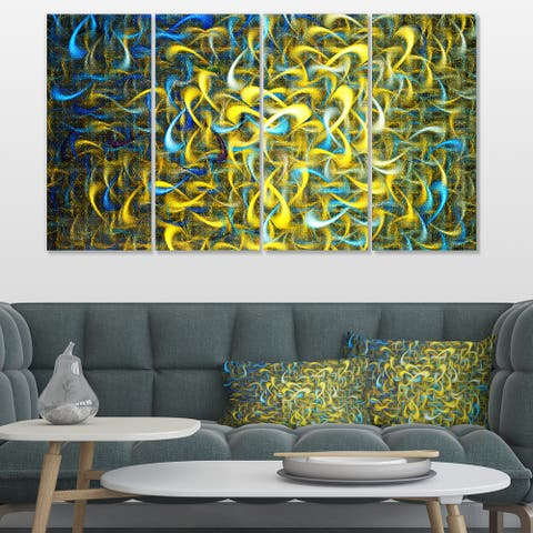 Designart 'Golden Watercolor Fractal Pattern' Abstract Art on Canvas