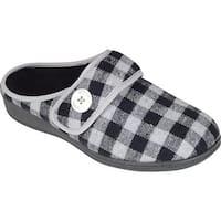 Vionic Women's Sadie Slipper Grey Plaid Textile