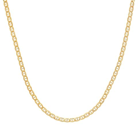 """Italian-Made 3.45 mm Mariner Chain Link Necklace in 14K Gold, 20"""" - Yellow"""