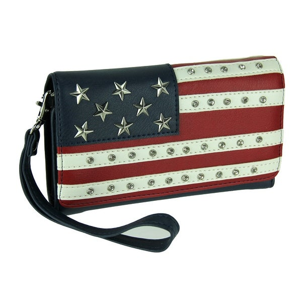 Black Red and White Stars and Stripes Convertible Wallet